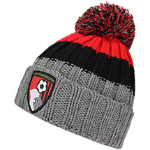AFC Bournemouth Adults Beanie Hat - Grey / Black / Red