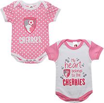 AFC Bournemouth 2 Pack Baby Bodysuit - Pink / White