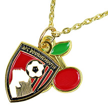 AFC Bournemouth Gold Plated Cherry Crest Pendant And Necklace