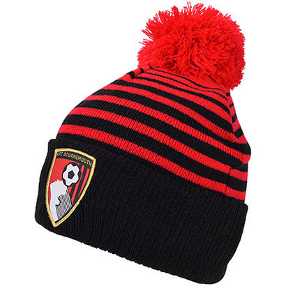 AFC Bournemouth Adults Hoop Crest Beanie Hat - Red / Black