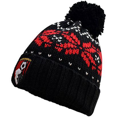 AFC Bournemouth Adults Fairisle Beanie Hat - Black