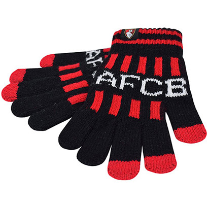 AFC Bournemouth Kids Striped Gloves - Black / Red
