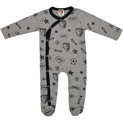 AFC Bournemouth Babies Graphic Sleepsuit - Grey Marl