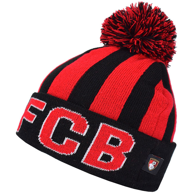 Kids Striped AFCB Beanie Hat - Black / Red