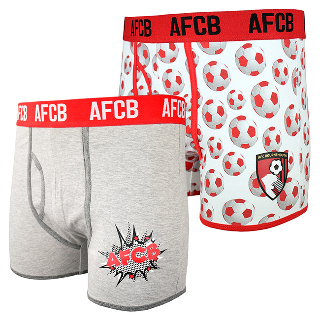 Adults 2 Pack Boxer Shorts - Grey / White