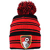Adults Black And Red Striped Beanie Hat